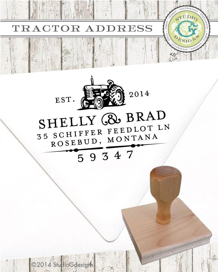 TRACTOR -- 1.5 x 2.5 in -- Personalized Return Address Stamp Wedding Paper Goods by studioGdesigns on Etsy https://www.etsy.com/listing/204602429/tractor-15-x-25-in-personalized-return