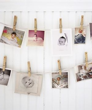 For a baby shower: have guests bring a baby photo and guess who is who.  Love the clothespin idea too!