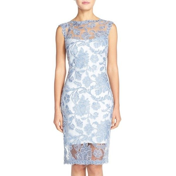 Tadashi Shoji Corded Lace Sheath Dress ($368) ❤ liked on Polyvore featuring dresses, blue stone, blue sleeveless dress, sleeveless dress, lace sheath dress, blue floral dress and tadashi shoji dresses