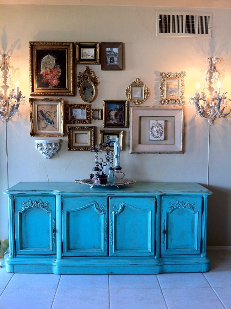 Turquoise credenza Stanley brand.