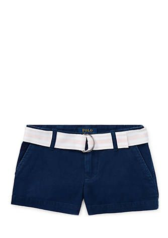 c9f0a0e710a Easy-to-match hues and lightweight cotton chino will make these shorts her  favorite pair all season long. A striped belt adds a fun finishing touch.