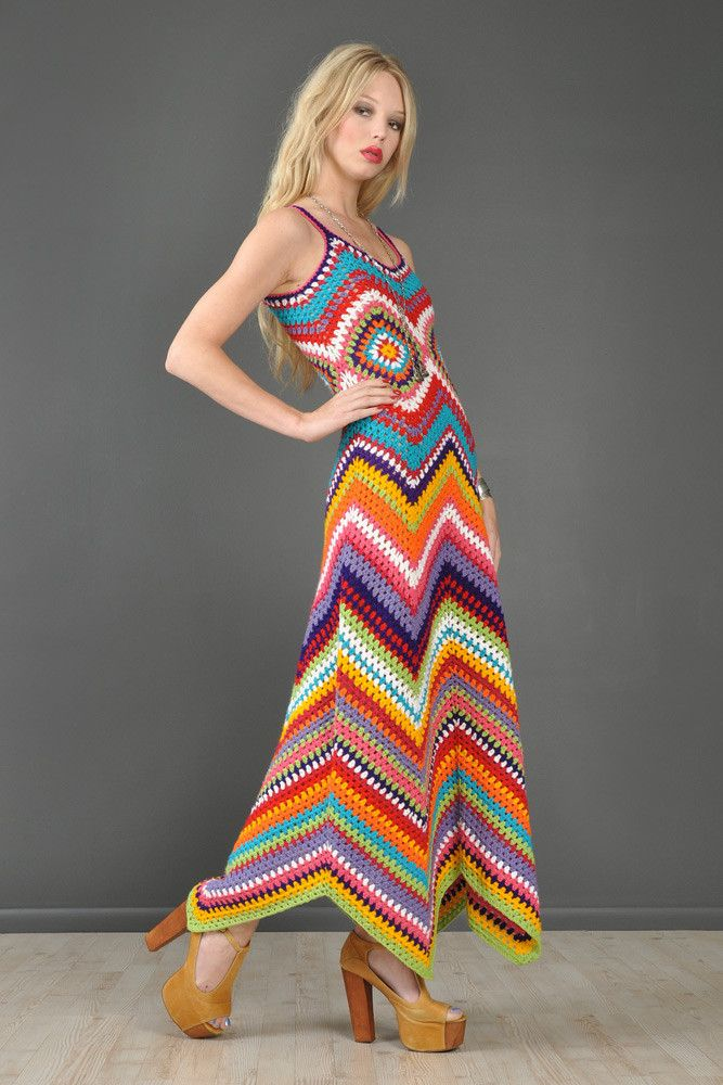 1-of-a-Kind Bustown Custom Rainbow Crochet Maxi Dress | BUSTOWN MODERN