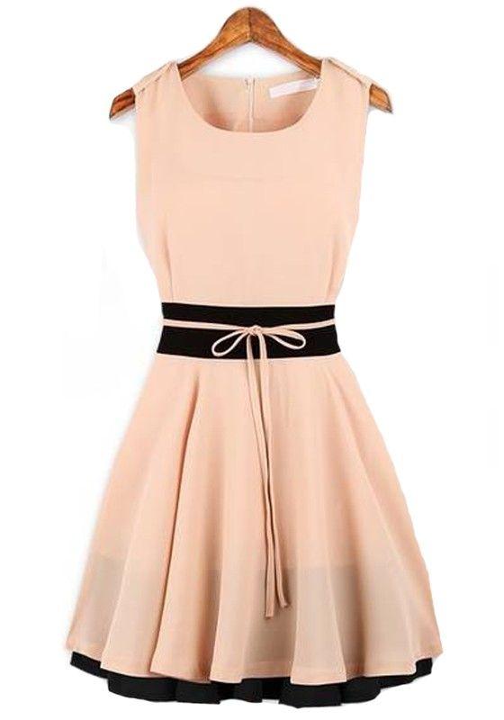 Pink Plain Sleeveless Round Neck Chiffon Dress