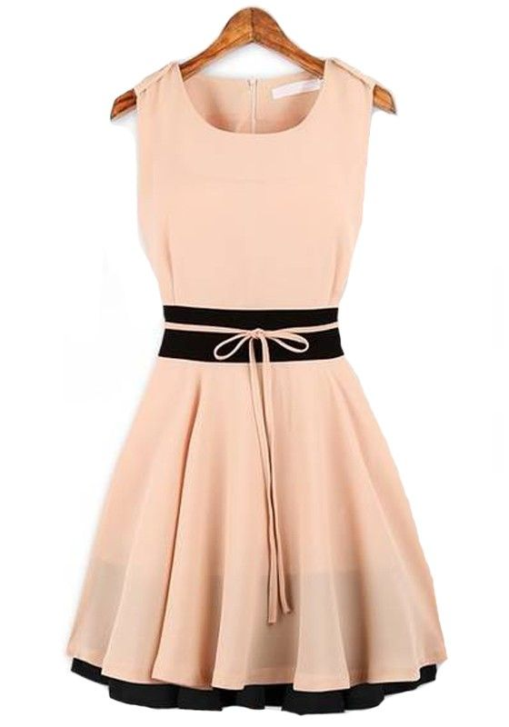 Pink Plain Sleeveless Round Neck Chiffon Dress
