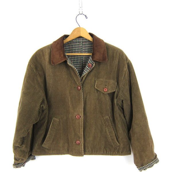 Vintage reversible cropped Fall jacket Green Brown corduroy and wool... ($40) ❤ liked on Polyvore featuring outerwear, jackets, green corduroy jacket, houndstooth jackets, reversible jacket, hounds tooth jacket and cropped wool jacket