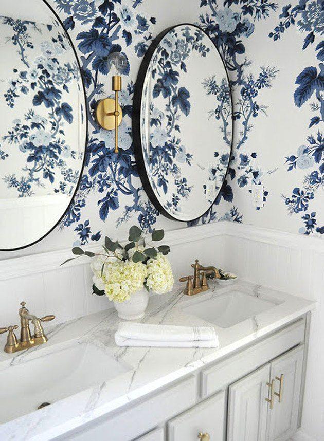 15 Gorgeous Modern Bathroom Design Ideas Hunker Bathroom Wallpaper Blue Floral Wallpaper Room Wallpaper
