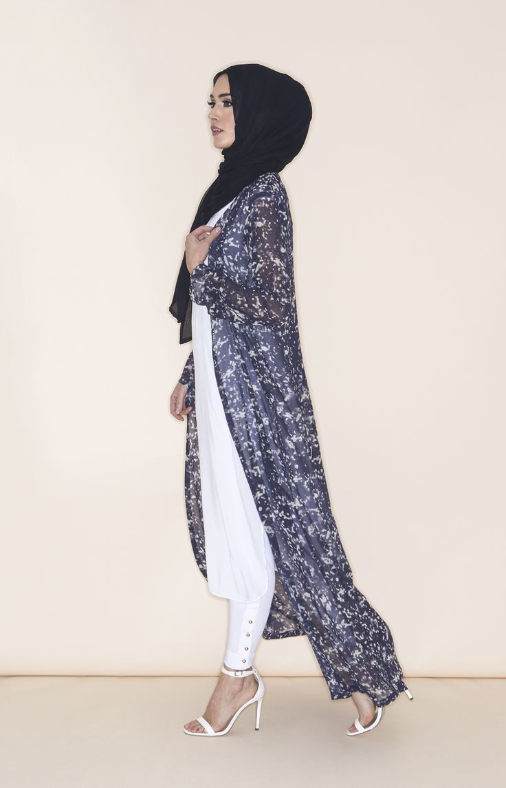 MARBLE ART KIMONO - Longline floaty Kimono in a classy marble dye print, dark blue with soft touches for white, pair with a white slip and get set for Summer.