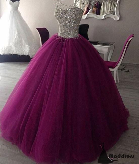 Sweetheart Long Prom Dress Tulle Purple Ball Gowns Sequins Formal Evening  Dresses 20f9e27c53d8