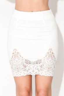 Lace Jam Skirt - White