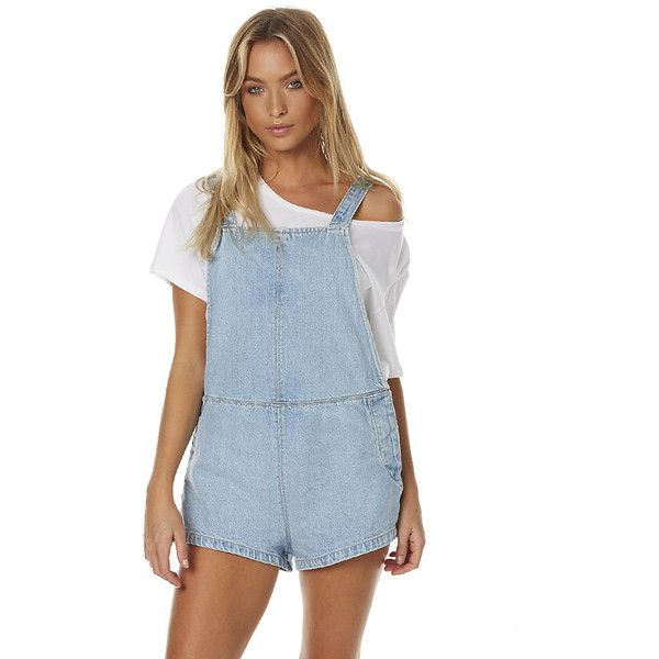 Thrills Stealth Short Overalls Blue (68 PAB) ❤ liked on Polyvore featuring jumpsuits, rompers, blue, overalls, women, short overalls, bib overalls, blue rompers, shorts overalls and blue overalls