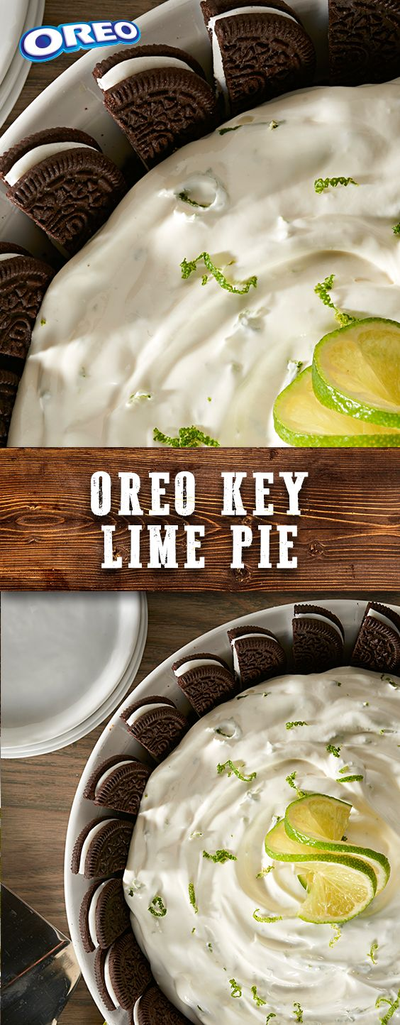 """Need a sweet treat for a crowd at the backyard BBQ? Turn the tables on traditional treats with this zesty recipe for OREO Key Lime Pie. Our deluxe """"remix"""" of an OREO pie combines chocolatey crunch with the invigorating citrus flavor of key limes. Easy to prep in just 20 mins!"""
