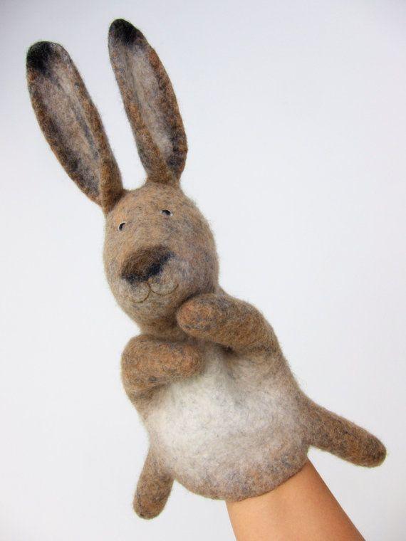 la marionnette de lièvre brun wet feutré faite pour par bibabo