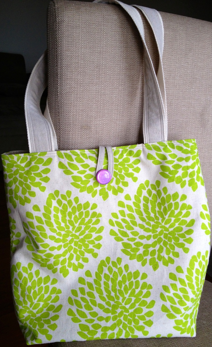 Tote using screen printed fabric from Danielle Stewart Designs - made by JuMi Creations on Facebook