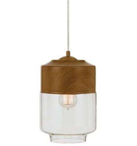 Jacky Pendant Light (E27), Oak with Clear Glass