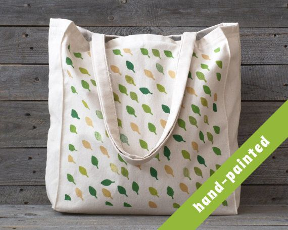 Plant Canvas tote bag/ Market Bag/ Leaf Tote Bag/ by tsomoriri