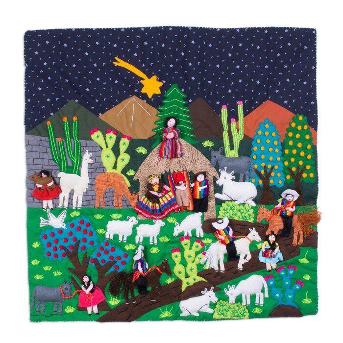 Peru Nativity Arpillera Wall Hanging In 2020 Handmade Wall Hanging Wall Hanging Applique Wall Hanging