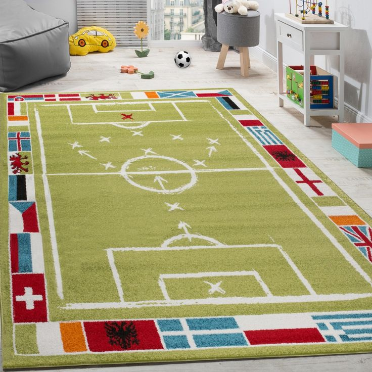 Kinderteppich Fußball Design Kurzflor Fußballfeld Spielteppich Weiß Grün Kinderteppiche