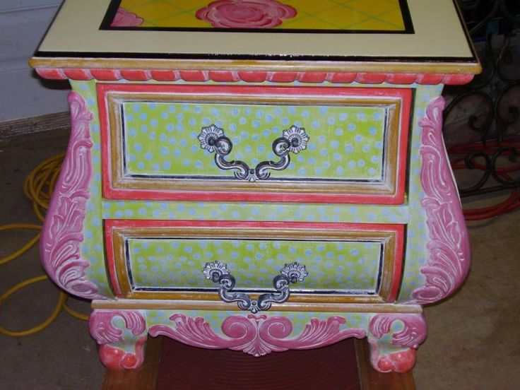 A Whimsical Design / Reflections   Painted Night Stand Furniture
