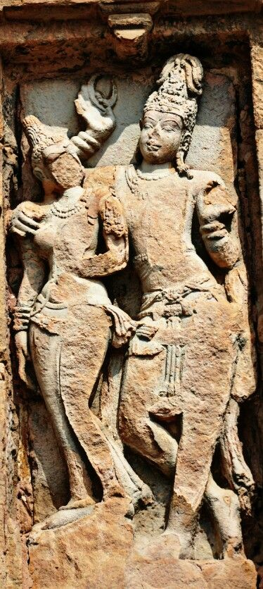 """Lord Shiva and Goddess Parvati. "" Virupaksha Temple. Pattadakal. Chalukya Dynasty. 8th Century CE. Karnataka, India."