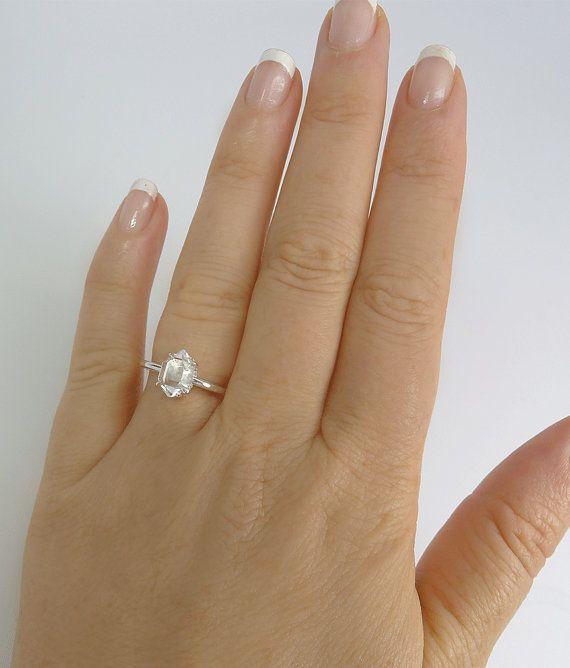Raw stone engagement ring Unisex Raw Crystal Ring by greengem