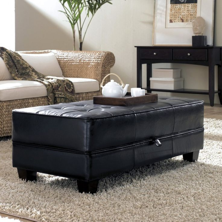 black tufted leather ottoman coffee table for living room - Brown Leather Ottoman