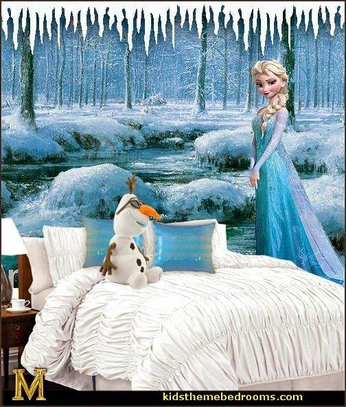 Disney Frozen Elsa theme bedroom decorating ideas-winter theme Frozen bedroom ideas