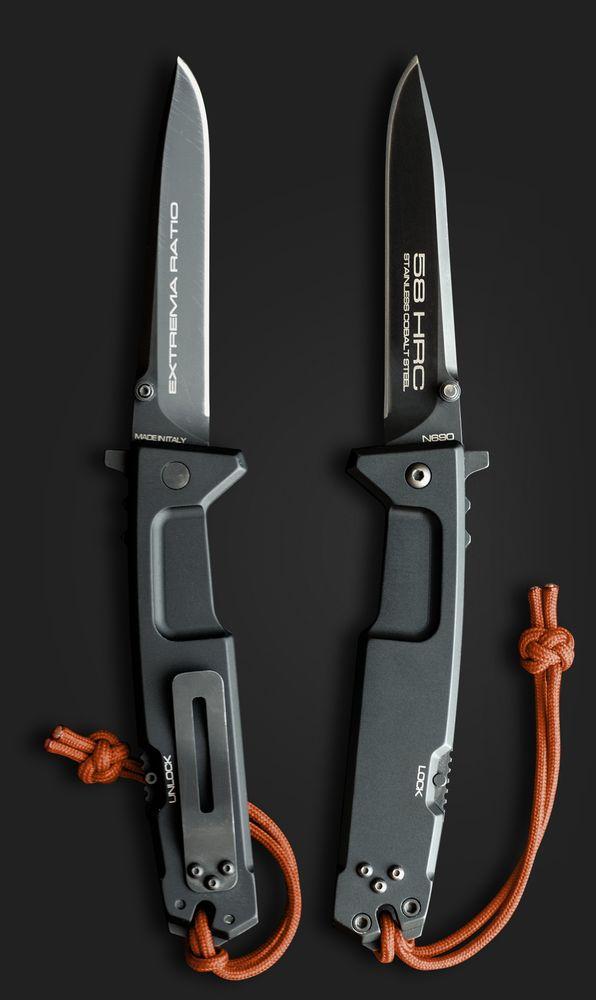 Extrema Ratio Nemesis EDC Folding Knife Blade,Cobalt Steel Blade, Black Anodized Aluminum Handle - Everyday Carry Folder