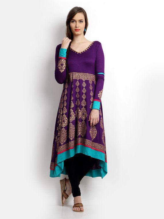 Elle Purple & or imprimé Anarkali Kurta (tableau des tailles disponible dans la dernière image)