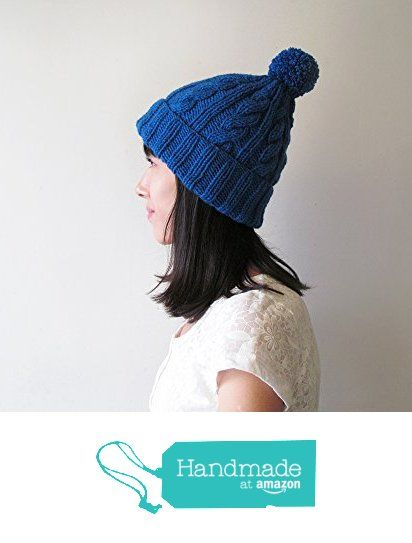Cable Knit Hat in Blue, Hand Knit Beanie with Folded Brim, Womens Pom Pom hat, Winter Accessories, Wool Blend, Gift For Her, Made to Order from NaryaBoutique https://www.amazon.com/dp/B01MCWTWL0/ref=hnd_sw_r_pi_dp_.qoeybK3APGE9 #handmadeatamazon