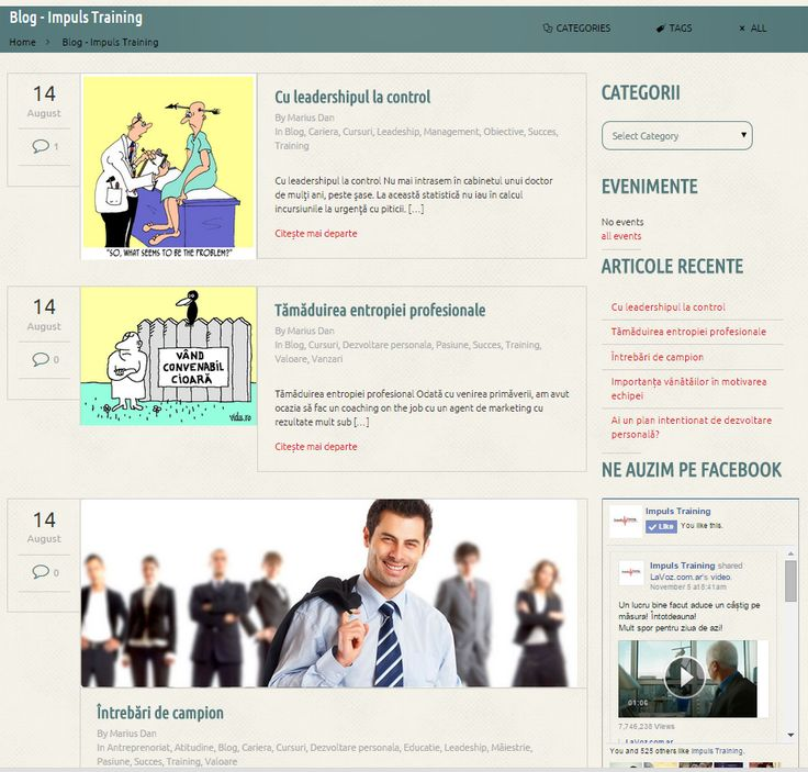 Blog layout page  http://impulstraining.ro/blog/