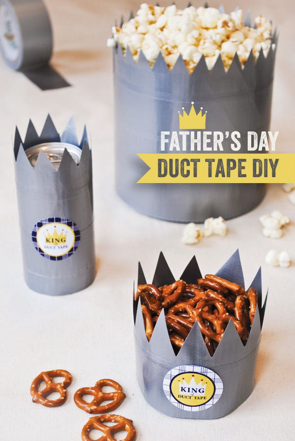 "Father's Day #DIY ""King of Duct Tape"" Treat Crowns"