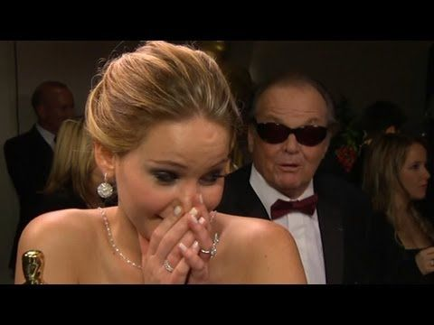 Jennifer Lawrence Oscar Interview Interrupted by Jack Nicholson; Check out the shock on Jen's face.