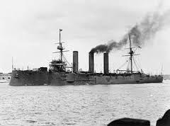 Monmouth class cruiser HMS Kent - surprised by the German appearance off the Falklands in December 1914, she put to sea without refuelling and by the end of the battle was reduced to burning her wardroom furniture. She sank SMS Nurnberg.