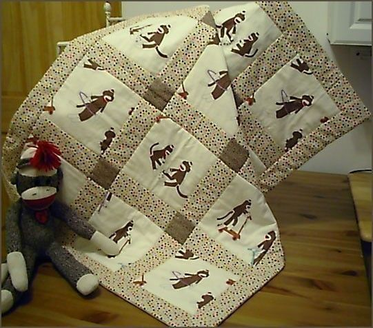 new Crib Size MODA SOCK MONKEY Baby Quilt by BearHugBabyQuilts, $48.00