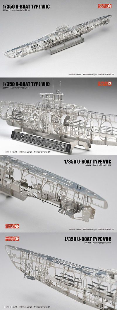 Metal 152929: 1 350 Wwii U-Boat Type Viic Full Structure Pe Model U Boat Jasmine Model 205001 -> BUY IT NOW ONLY: $36 on eBay!