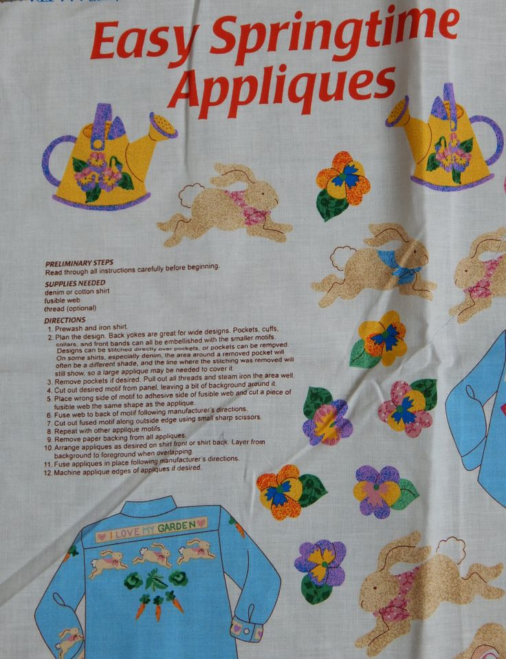 Applique Fabric Panel Spring Garden/DreamSpinner Cranston Print Works Co. Easy Springtime Appliques/Womens Kids clothes apron pillows easter by RedWickerBasket on Etsy