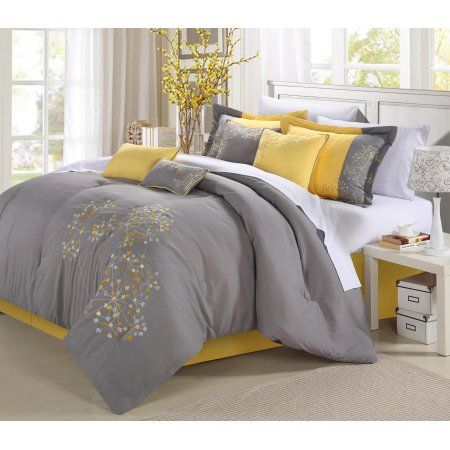 Chic Home Shea 12 Piece Comforter Set Embroidered Floral Design Bed in a Bag Bedding - Sheets Bed Skirt Decorative Pillow Shams Included, King Yellow
