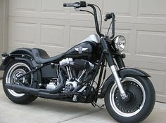 harley fatboy with black ape hangers