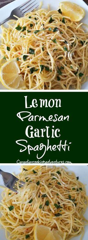 Lemon Parmesan Garlic Spaghetti #Lemon #Parmesan #Garlic #Spaghetti #pasta #sauce #lemon #lemons #easy #dinner