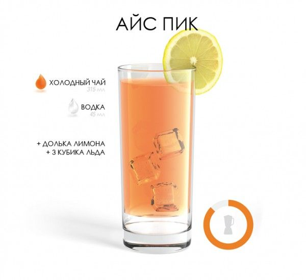 Рецепт коктейля Айс Пик / Ice Pick: 315 миллилитров холодного чая 45 миллилитров водки ломтик лимона 3 кубика льда