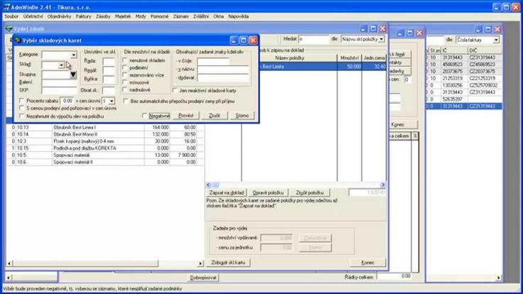 Jak zapsat skladové položky na fakturu v ekonomickém software AdmWin