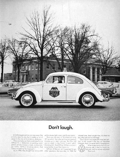 1966 Volkswagen Beetle Police Car original vintage advertisement. Photographed in black & white. Purchased