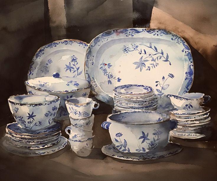 'East India Porcelain, 43 pieces', watercolor by Magnus Petersson.
