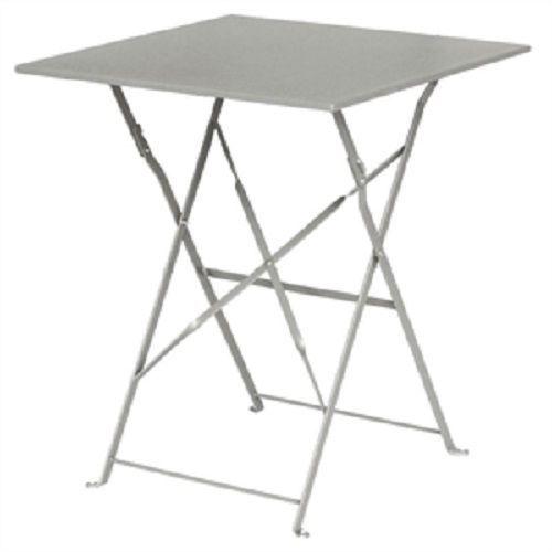 Bolero Grey Pavement Style Steel Table Square 600mm diameter  GK988
