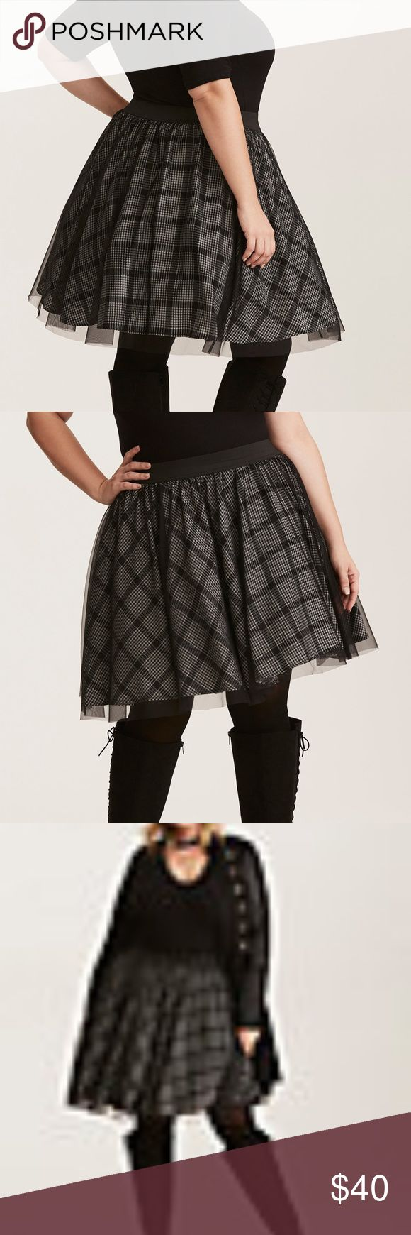 Plaid Print Mesh Tulle Mini Skirt Torrid NWT Plaid Print Mesh Tulle Mini Skirt Super Flair!  Size 0 Plaid to the bone! This mini has major poof in mind with a tulle underlay that'll give any top you pair it with a major kick. The black and grey plaid print mesh adds a sassy look to the stretch waistband style. Polyester/Rayon Hand wash cold, line dry Imported plus size skirt Liner has the bottom with double thick tulle for approx 5 inches to flair without being puffy around the tummy.   NWT…