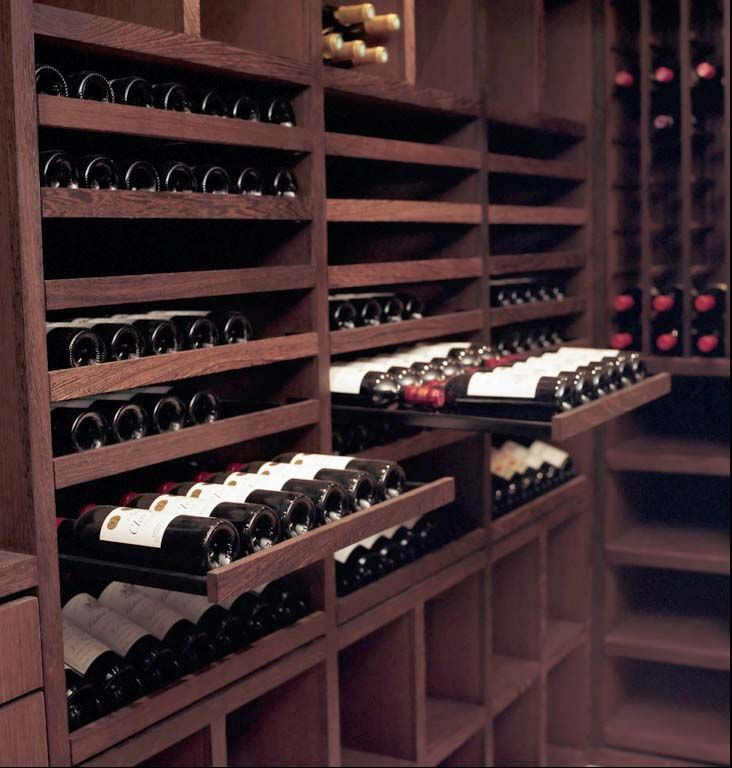 slide out racks in a wine cellar