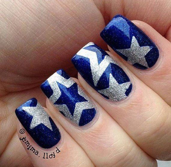 Star Nail Vinyl Fingernail Art Stencils Etsy Blue Nail Art Designs Cowboy Nails Dallas Cowboys Nail Designs