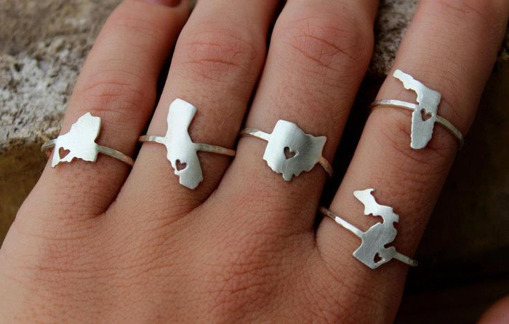 Any State Love Ring. $60.00, via Etsy. Love the idea of having an Arkansas one to remind me of home :)