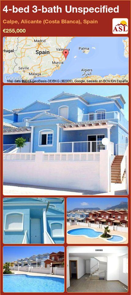 4-bed 3-bath Unspecified in Calpe, Alicante (Costa Blanca), Spain ►€255,000 #PropertyForSaleInSpain
