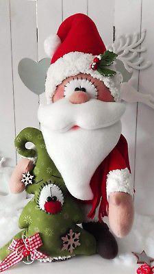 @Babbo Natale, feltro e pannolenci, decori/ Weihnachtsmann mit Tannenbaum50 cmWeihnachtenTilda AdventLandhaus